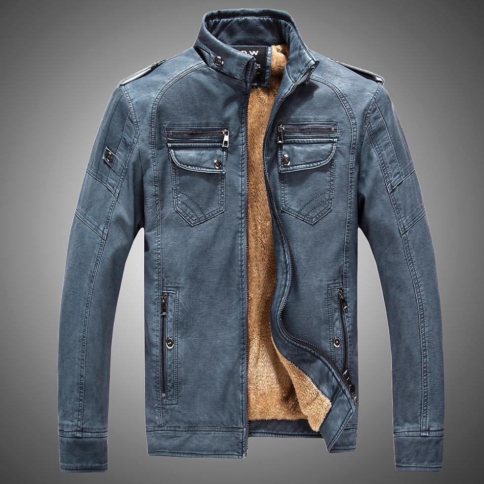 30e195d231d Moderní pánská kožená bunda s kožíškem uvnitř z Aliexpress