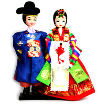 Korean Figure Wedding Couple Doll In Traditional Costume