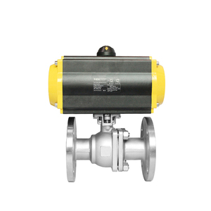 Floating Safety DN25 1 inch 2 Way Ball Valve Air Actuated Pneumatic Flanged Ball Valve