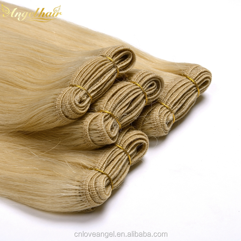 Can be dyed and re-curled ombre remy hair weft hand tied weft hair extension