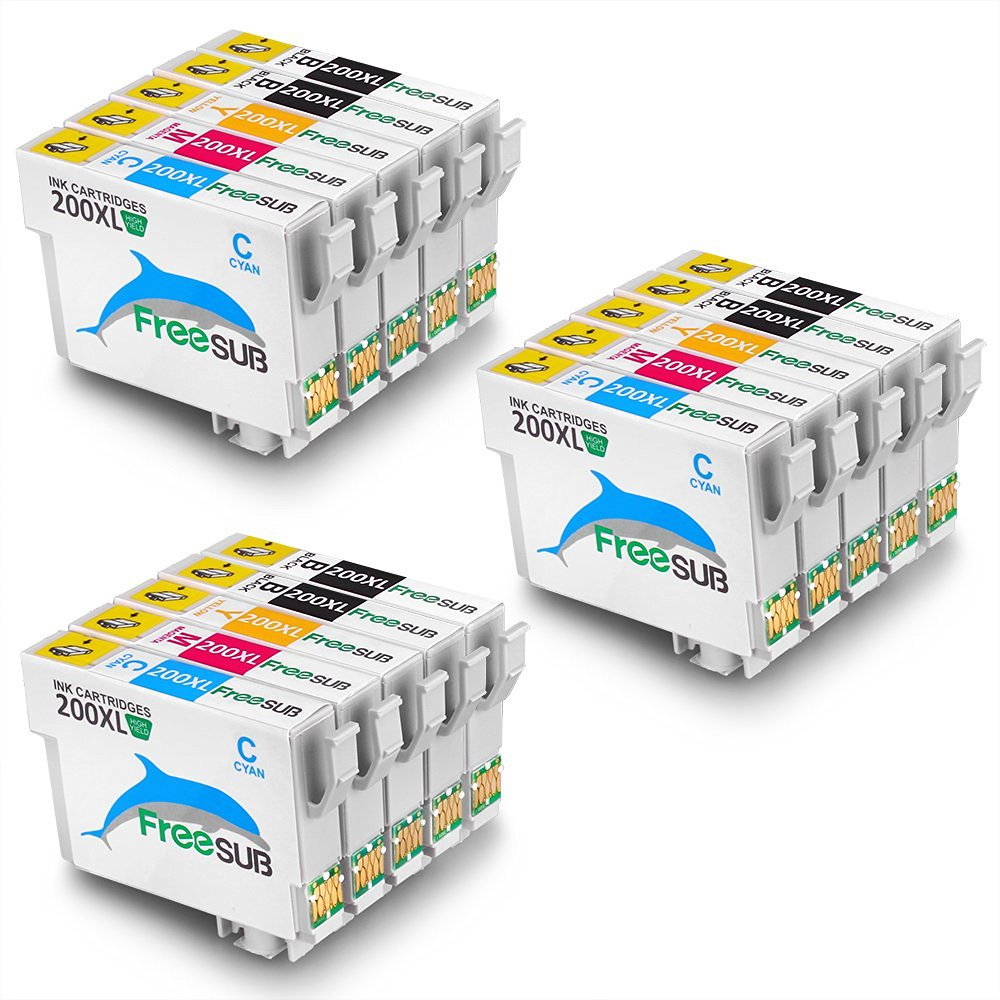 FreeSUB Replacement For Epson 200XL Ink Cartridge 3 Set+3 Black High Yield Compatible With Epson XP-310 XP-410 WF-2540 WF-2530 WF-2520 XP-400 XP-300 XP-200 WF-2010F WF-2010W WF-2510 Printer