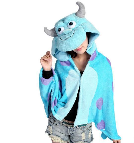 441373a49759 Get Quotations · Anime Sulley Sully Monsters University Hooded Wrap Women  Men Cosplay Cloak Coral Fleece Shawl Cape Mantissa