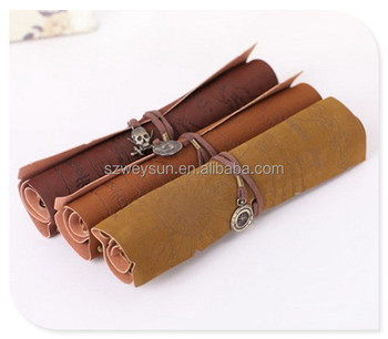 Retro Vintage Pirate Roll Up Pu Leather Pen Pencil Case Bags ...