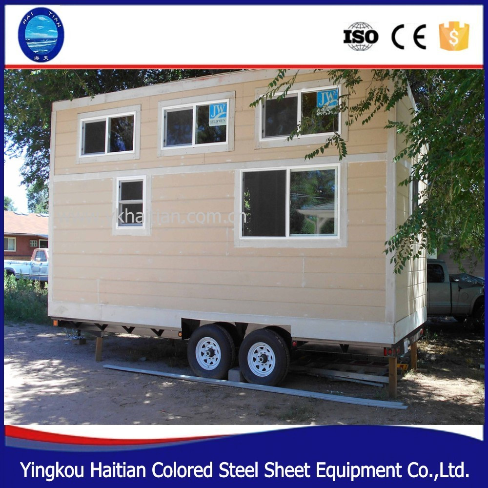 Wooden prefabricated cheap tiny home on wheels prefab building with wheels design mobile trailer houses for sale