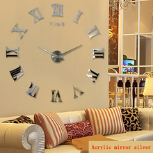 2016 hot real arrival digital mirror big wall font b clock b font modern living room