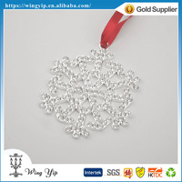 Manufacturer trendy Snowflake with bead Metal Sovenir for Ornament