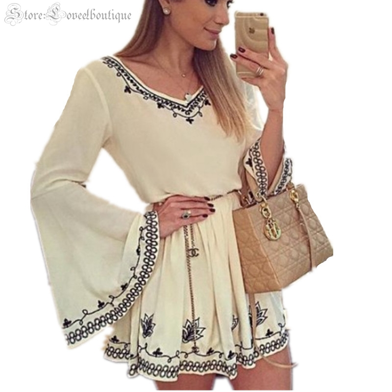 f304d9610b 2015 New Summer Women 's Bohemian Style Vintage Flowers Embroidery V-neck Flare  Sleeve