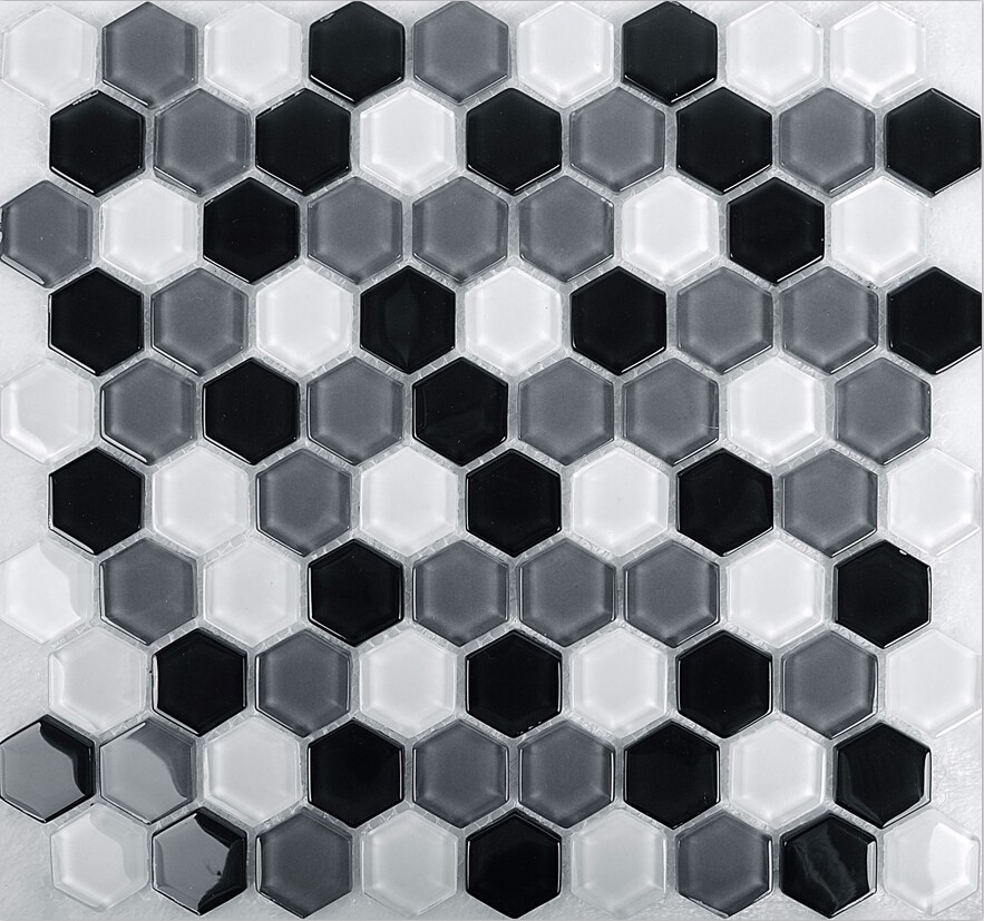 2016 Neue Glasierte Schwarz Grau Weiß Mix Hexagon Glas Mosaik