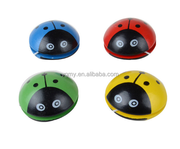 Cartoon Ladybug Cute Yoyo Balls Professional Color Wooden Single Bearing Rotation Balls