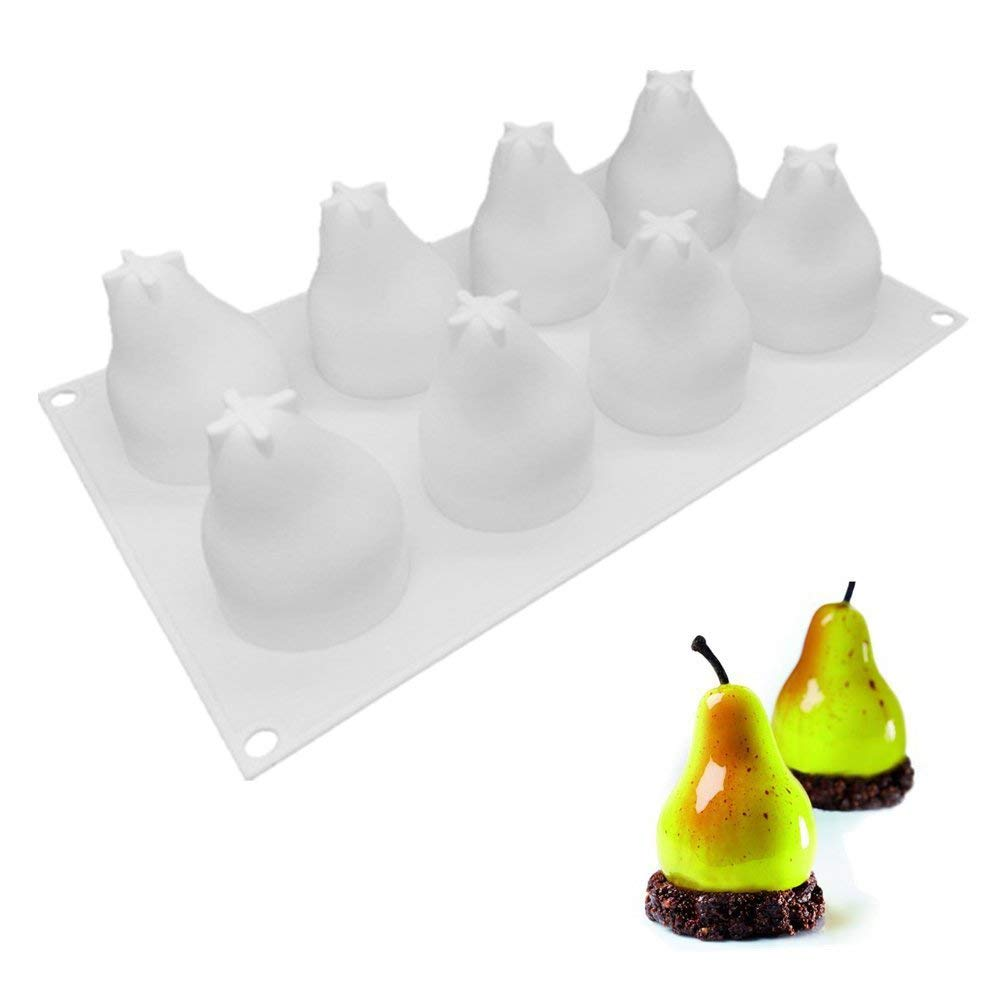 Pear Shape Cake Mold, Cupcake Making Mold, Fondant Chocolate Cake Moulds, Dessert Mousse Molds Silicone Sugarcraft Cake Decorating Tools Nonstick Bakeware Wedding Cookies DIY Decorating Supplies