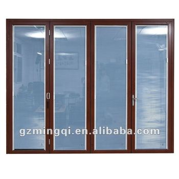 Aluminum Folding Office Door Blinds Between The Gl