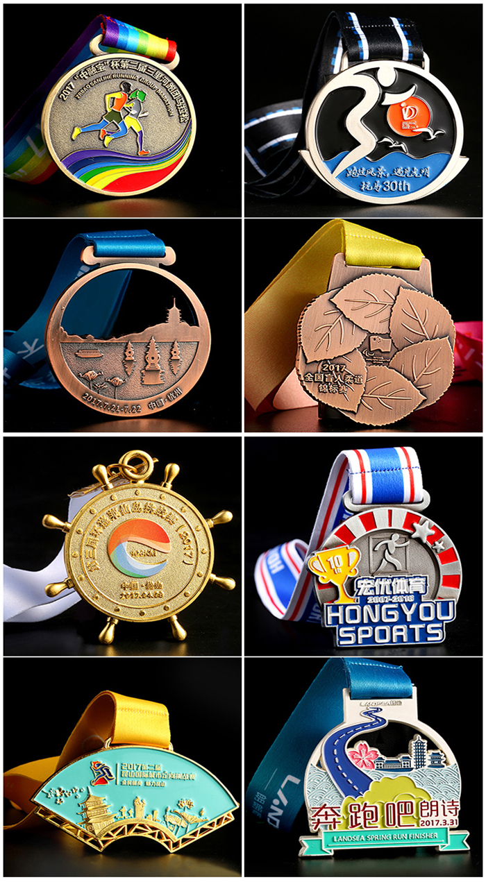 3D antique SSQ marathon LED light gold silver bronze medals
