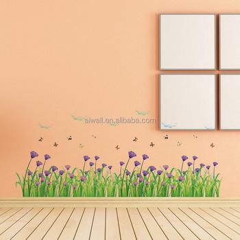 7005 Fleur Herbe Stickers Murauxstickers Muraux Plinthe Autocollant