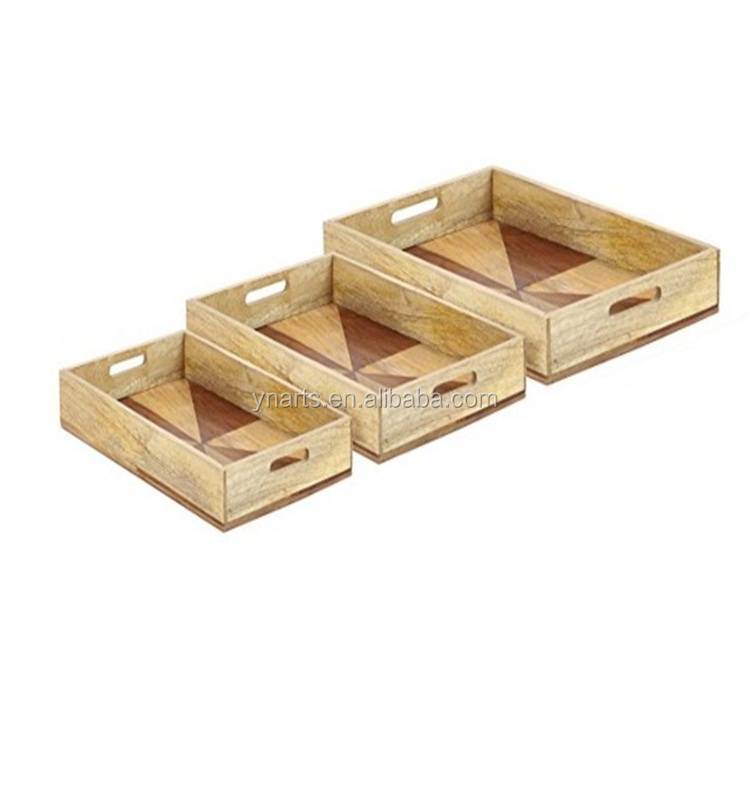 Factory sale divided wooden tray with handle