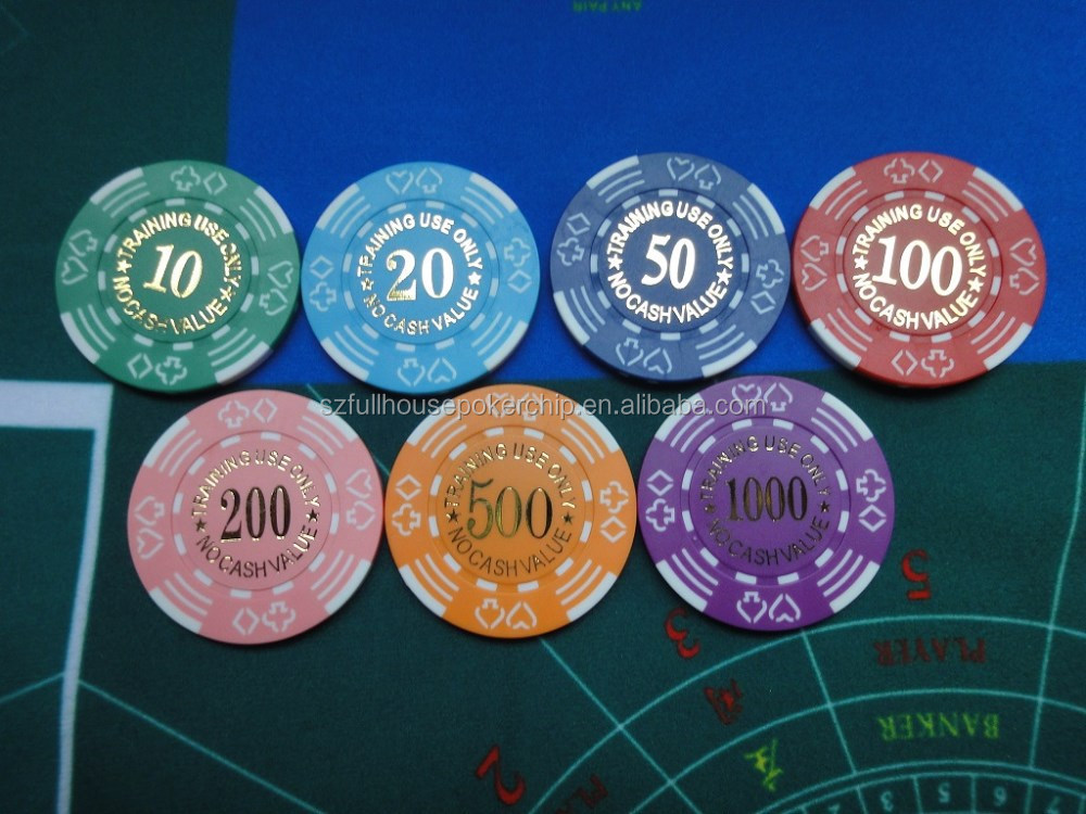 dice poker chip with hot stamp number different value