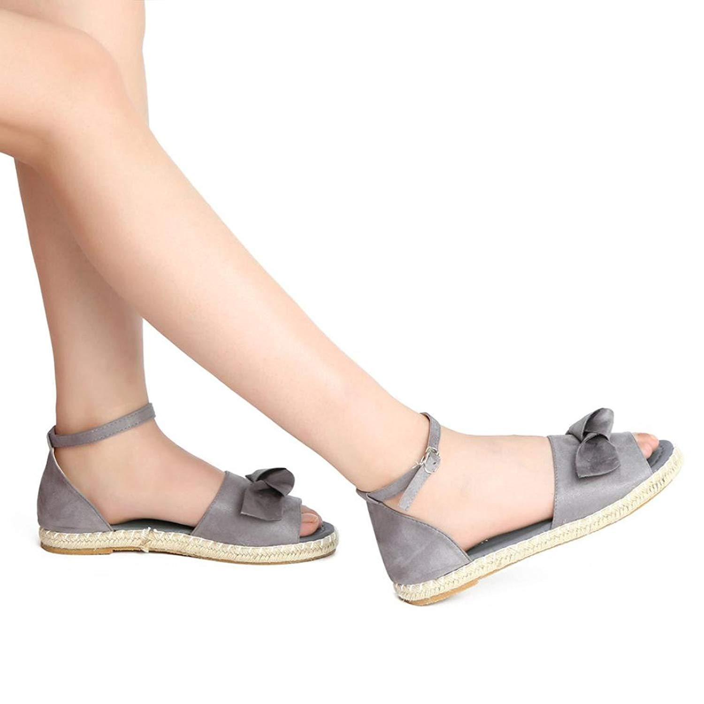 71c32360a859 Get Quotations · Fheaven Womens Espadrilles Sandals Sweet Tie up Flat  Sandals Peep Toe Classic Straps Shoes