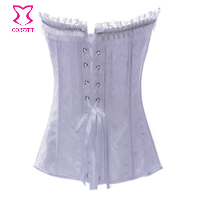 5954126395 Rhinestone Ruffles Decoration Strapless Sexy Jacquard White Corsets And  Bustiers Women Bridal Corset Lingerie Gothic Clothing