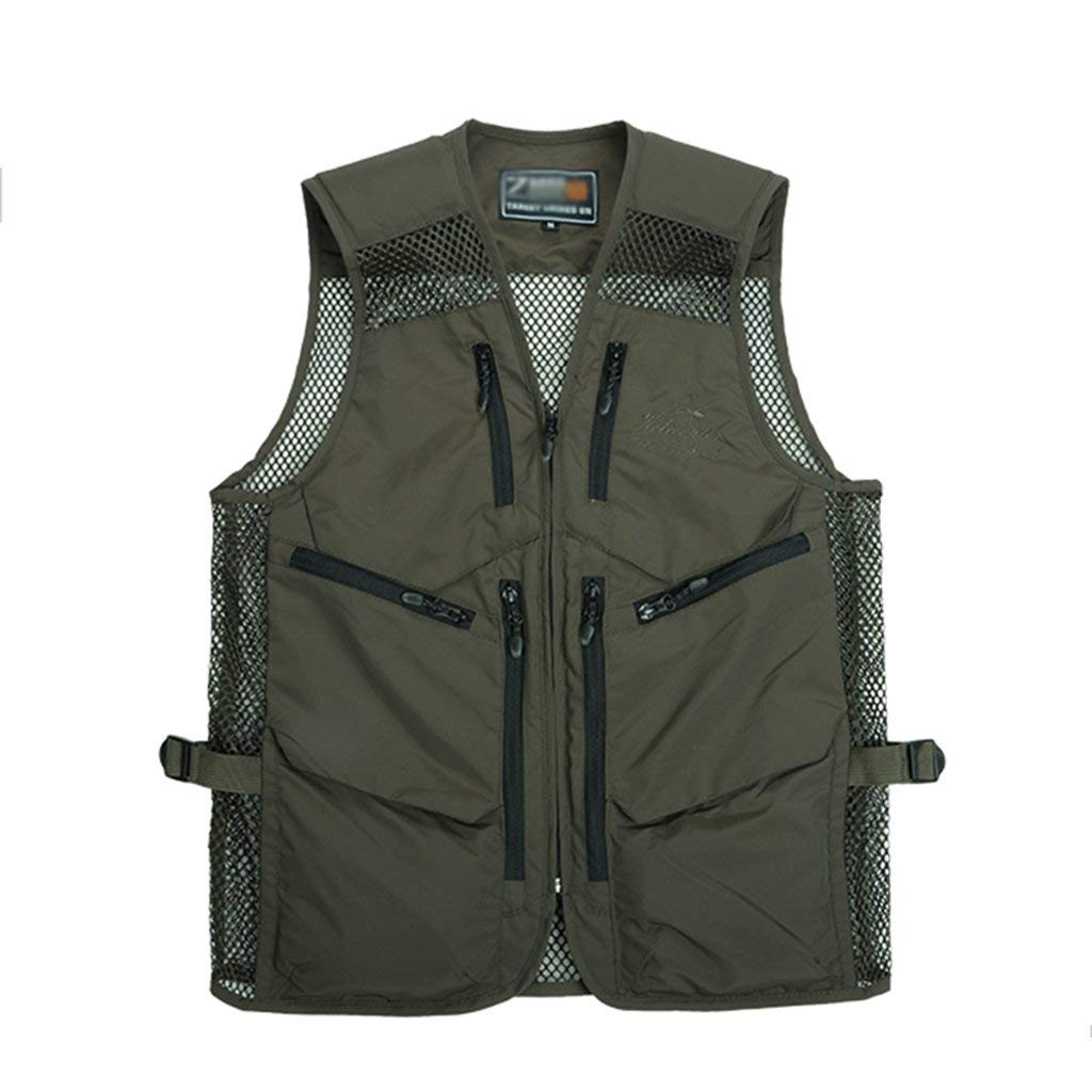 Pocket vest Men's Outdoor Sports Multi Fishing Vest Director Vest Breathable Vest Photography Vest Mesh Vest Summer Vest (Color : Green, Size : 165/M)