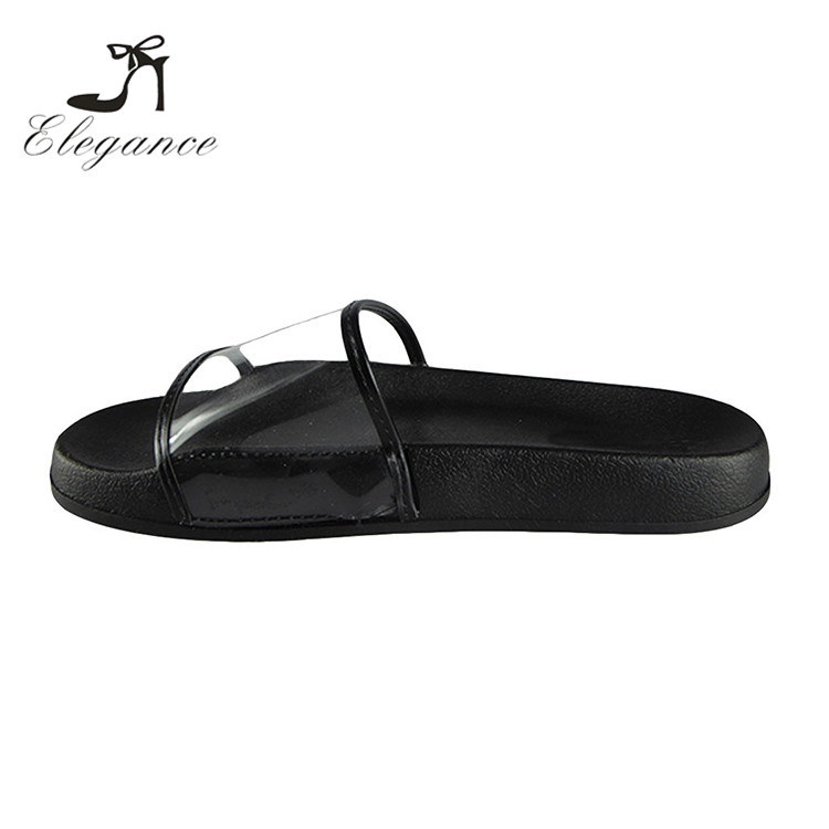 2017 Ladies Fashion Popular Comfy Plain Clear PVC Slide Flats Shoes Custom Rubber Sandals Bathroom Slippers