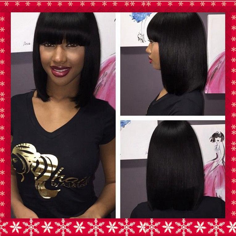 Короткая волос боб полный челкой нет кружево парик для женщины 1b # с черный, Шелковистые прямые 12 дюймов 150% высокая плотность