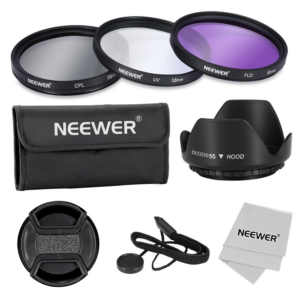 Neewer 55mm Lens Filter Accessory Kit for Canon Nikon Sony Samsung Fujifilm Pentax: UV/CPL/FLD Filter, Pouch, Lens Hood, Lens Cap, Cleaning Cloth