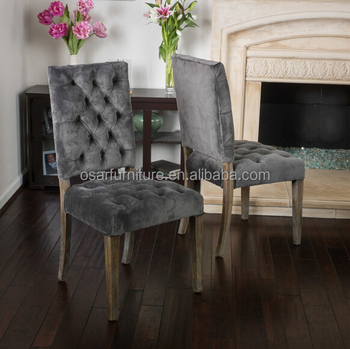 Osar French Style Upholstered Louis Button Back Luxury Velvet Dining Chairs