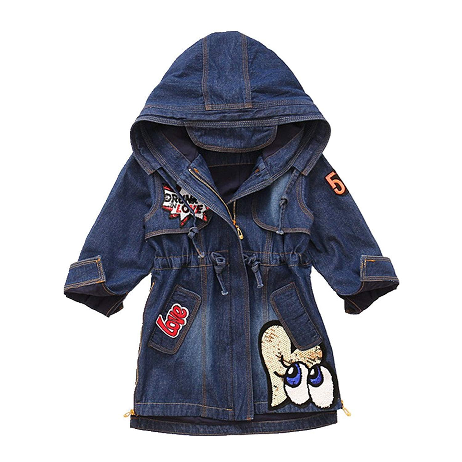 Star Flower Girls' Denim Jackets Size 14 7-16 Wrap Coat with Hood