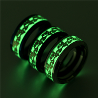Dragon Luminous Mens Rings for Men Black Gold Silver Stainless Steel Women Rings Glow In The Dark Ring Jewelry