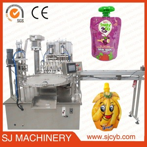spout pouch filling capping packing machine / automatic soybean/baby food pouch filling machine