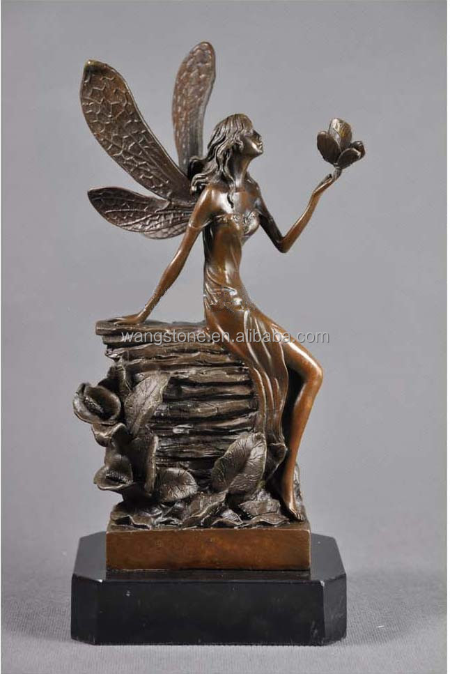 Bronze Sleeping Angel Statue Sexy Girl Sculpture