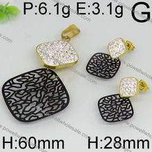 Jewelry Store Supply Pro-Quality High Quality latest design gold plated dubai stainless steel CZ beads jewelry set wedding