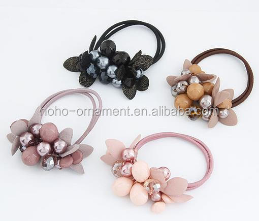 hotselling grass beads flower Elastic hair Ponytail Holder hair accessories