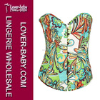 Green and Blue Printed Strapless Burlesque Underwire Woman Overbust Satin Corsets and Bustiers L4218