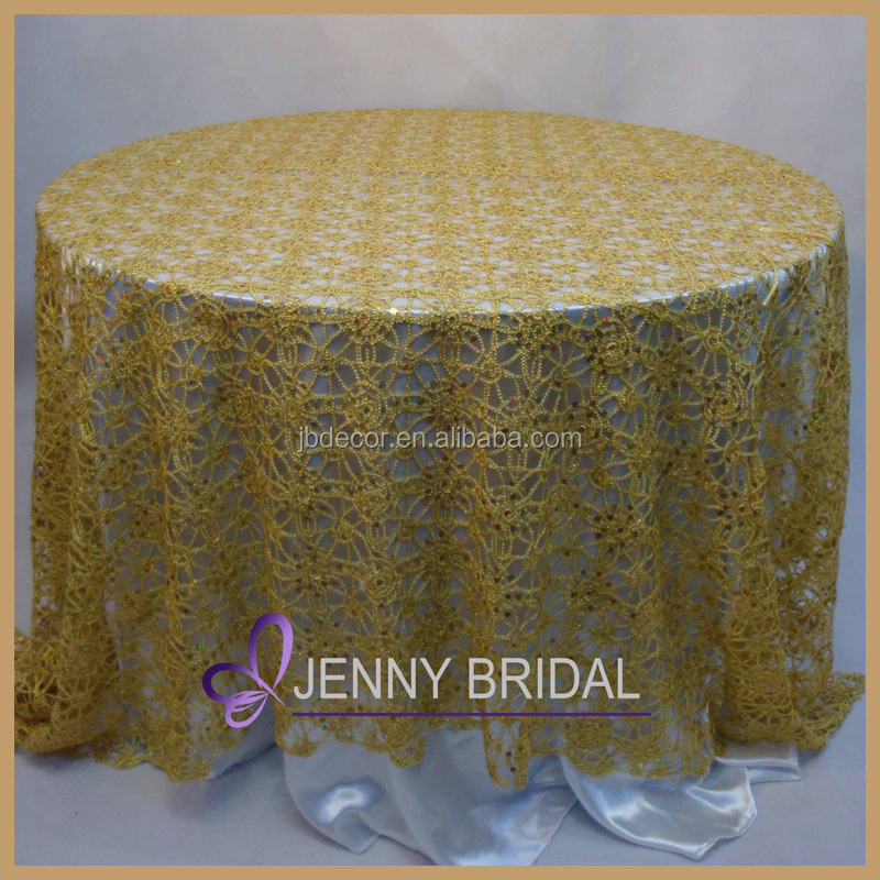 TC082A Factory Hot Selling Gold Silver Sequin Overlay Chemical Lace  Tablecloth