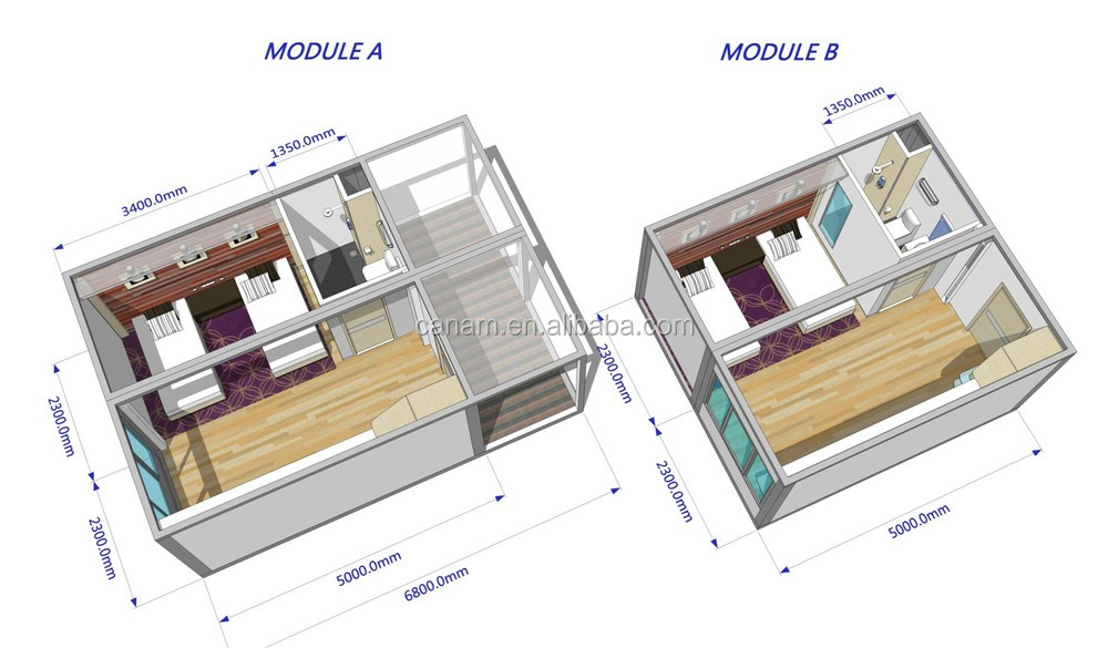Flat pack low cost prefabricated modern container hotel room