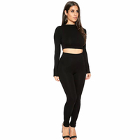 Long Sleeve Two Piece Set Bodycon Cropped Tracksuit 2018 Spring 2 Piece Set Women O-Neck Solid Crop Top and Pant Elastic Waist