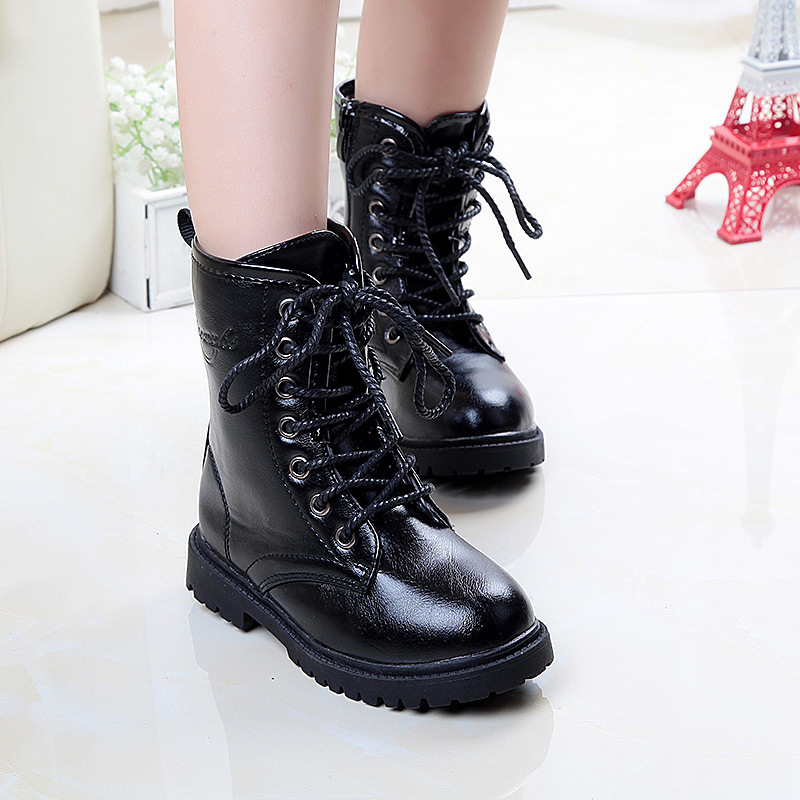 Girls Lace Up Shoe Leather