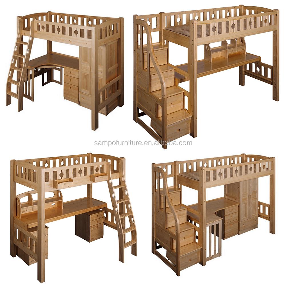 L en forma de madera literas con escritorio armario debajo for Closet en escaleras