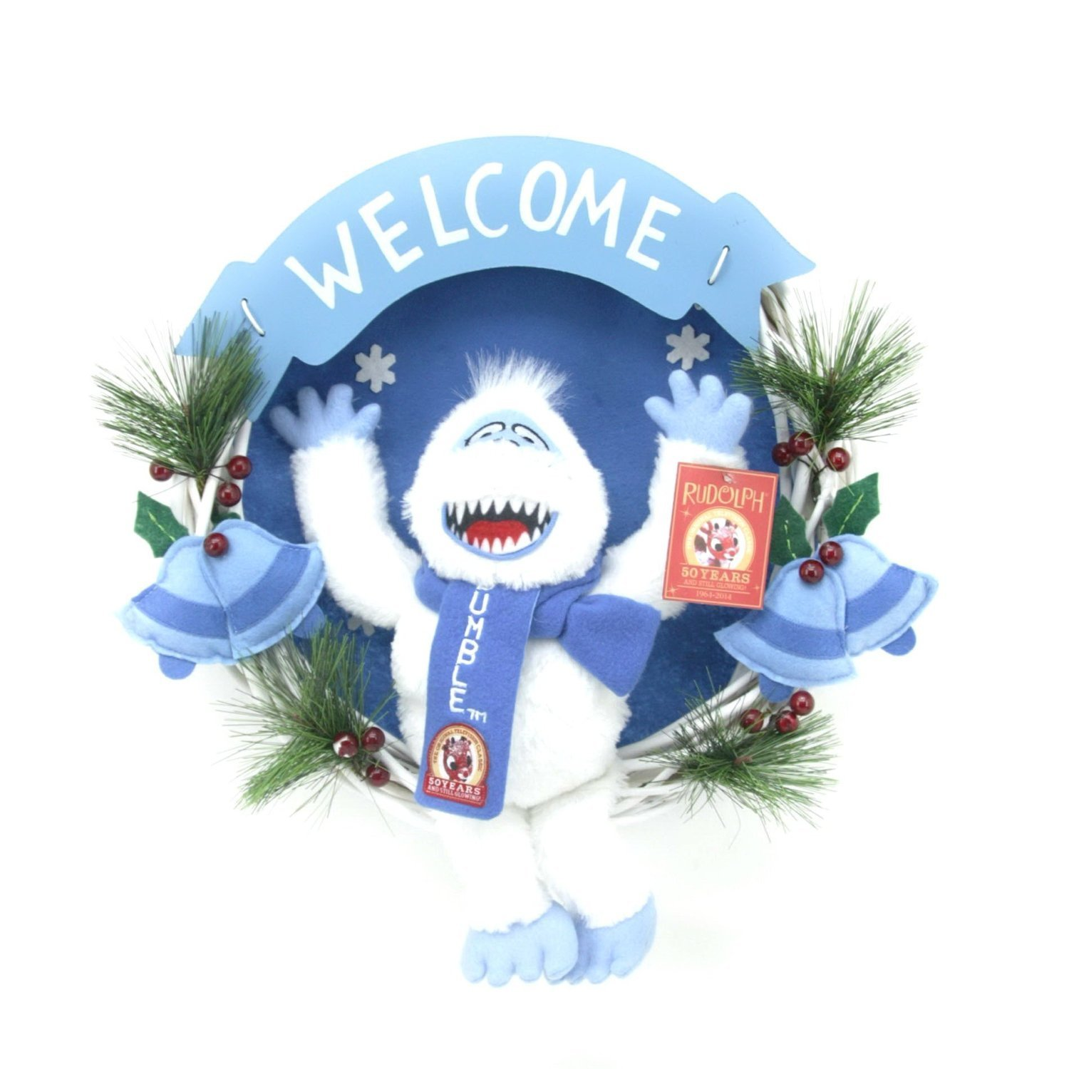 get quotations 14 bumble the abominable snowman plush christmas wreath 50th anniversary - Abominable Snowman Rudolph Christmas Decoration