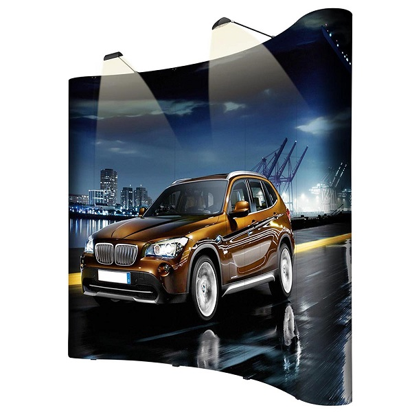 10ft Portable Aluminum PVC Magnetic Curved Pop Up Display for Advertising Trade Show Exhibition Promotions