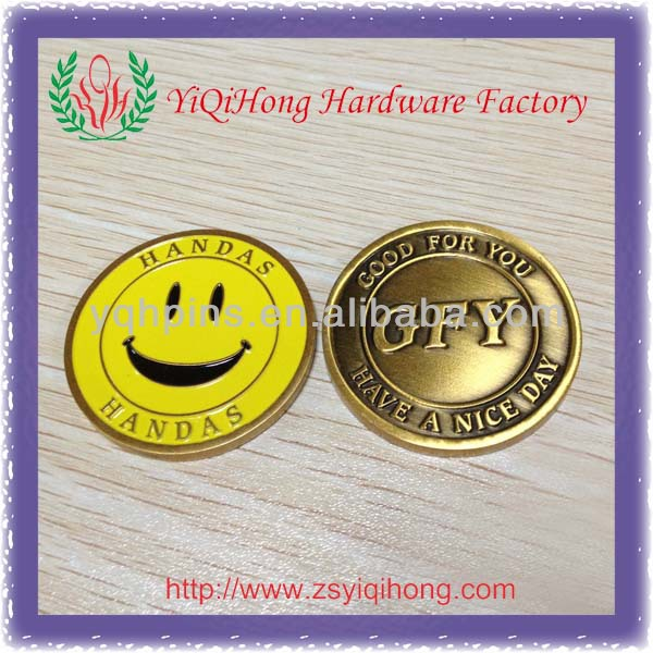 Copper smile face gold metal challenge coin