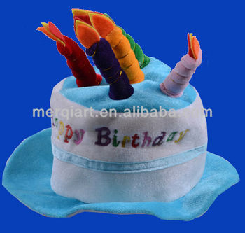 Plush Birthday Cake Hat Party With Colour Candle