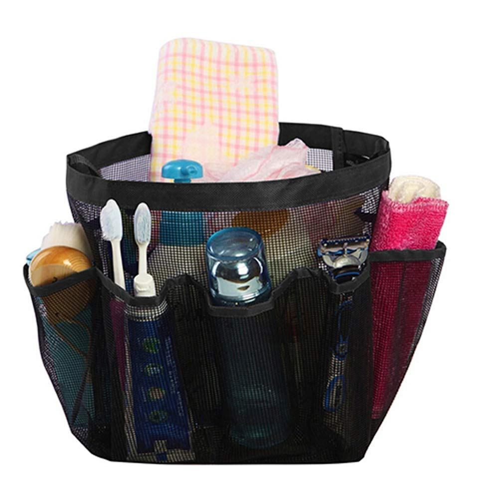 WAQIA HOUSE Portable Mesh Shower Caddy Tote, Quick Dry Hanging Bath Toiletry Organizer Bag 8 Storage Pockets, Double Handles College Dorm, Travel, Gym Camping