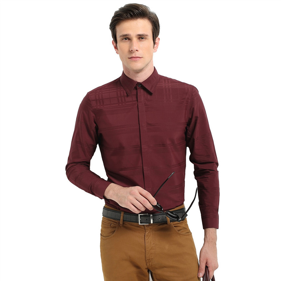 Custom formal long sleeve wine red shirts for men buy for Wine colored mens dress shirts