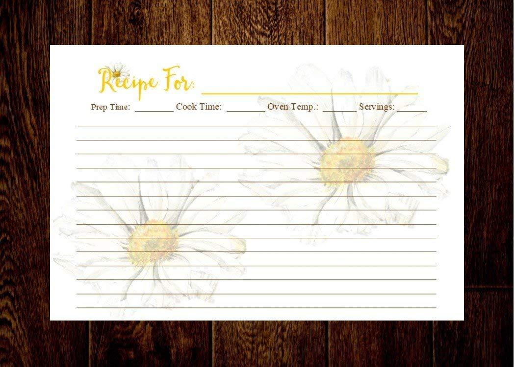 Creative Chef Planners, Recipe Cards, Recipe cards 4x6, 4x6 Recipe cards, Recipe Organizer, Floral recipe cards, Daisy recipe cards, Recipe cards for bridal shower, Set of 20