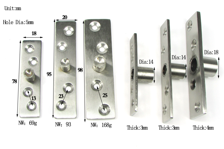 Different Size Types Of Window Pivot Hinges For Window