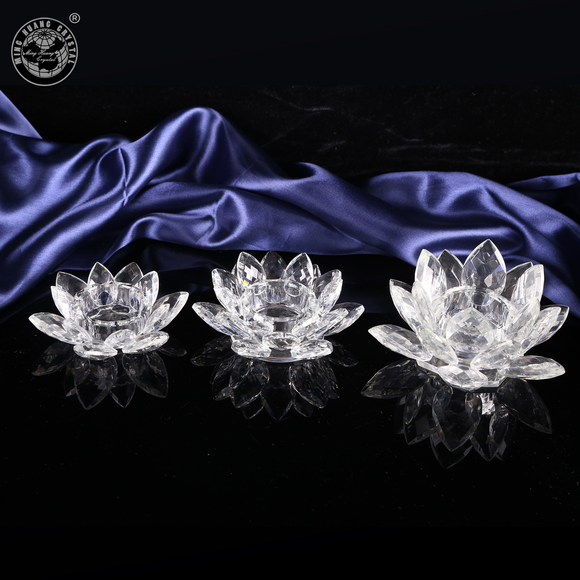 MH-L053 Clear crystal lotus flower glass candle holder