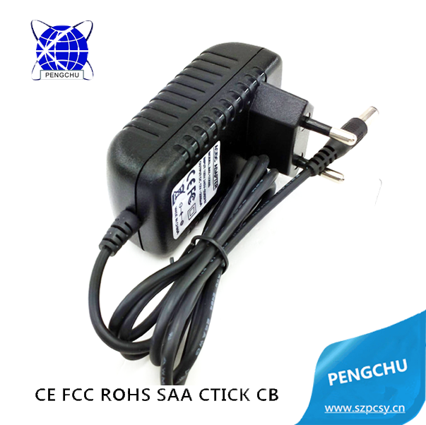 CE, FCC approved 6w wall charger 12v 0.5a ac power adapter