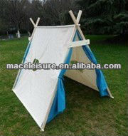 100% Cotton canvas triangle teepee indian tent outdoor kids funny play tent