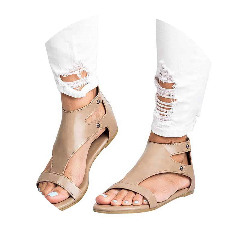 95c350d3c Get Quotations · Sandals Soft Leather Gladiator Sandals Casual Shoes Female  Flat Sandals Zip Plus Beach Shoes